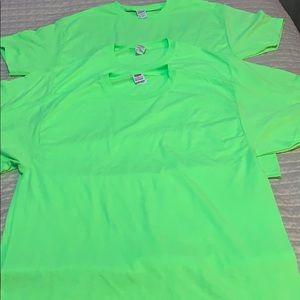 Green fluorescent t-shirts